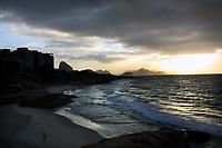 arpoador beach near copacabana beach in rio de janeiro in brazil at sunrise