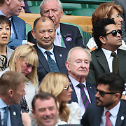 LONDON, ENGLAND - JULY 14: England rugby coach Eddie Jones with cricketer Sachin Tendulkar in the Royal box on Centre Court for the Gentlemen's Singles Semi-finals of the Wimbledon Lawn Tennis Championships at the All England Lawn Tennis and Croquet Club at Wimbledon on July 14, 2017 in London, England. (Photo by Tim Clayton/Corbis via Getty Images)