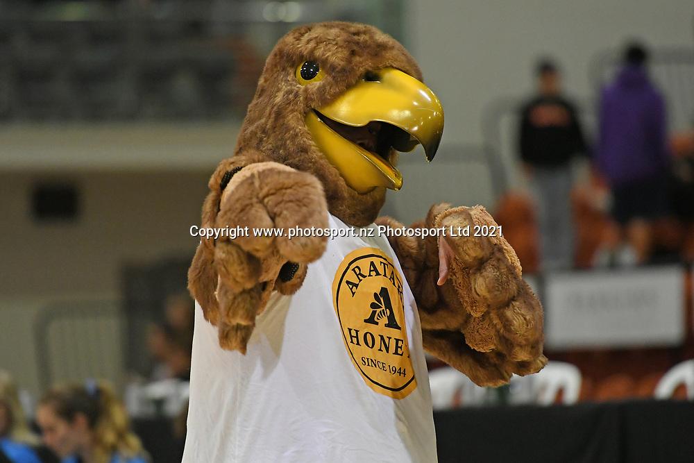 Taylor Hawks mascot in the Sal's NBL Basketball match, Taylor Hawks v EnviroNZ Bulls, Pettigrew Green Arena, Napier, Saturday, June 26, 2021. Copyright photo: Kerry Marshall / www.photosport.nz