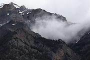 Cloud rises from a mountain near Jasper, Alberta, Canadian Rockies
