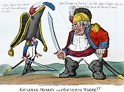 General Monkey and General Wolfe!!', 1803. John Bull (Britain) standing up to Napoleon saying '...you are all hat a Breeches'.  At this date Napoleon made plans for the invasion of England and siezure of Hanover.  France French