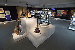 General view of a guitars, one owned by Jimi Hendrix (top), which is on display ahead of the the Entertainment Memorabilia Sale at Bonhams in Knightsbridge, London later this week.