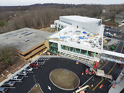 UAV Aerial Photograph of the New Bridgeport Hospital Park Avenue Campus Outpatient Center. Architect: Shepley Bulfinch. Contractor: Gilbane Building Company, Glastonbury, CT. James R Anderson Photography, New Haven CT photog.com. Date of Photograph 08 January 2016  Submission 22  © James R Anderson