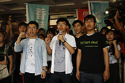 August 17, 2017 - Hong Kong, CHINA - Hong Kong pro-democracy activists and leading roles in 2014 OCCUPATION CENTRAL-UMBRELLA REVOLUTION, Nathan Law ( L ), Joshua Wong ( C ) and Alex Chow are sentenced 6 to 8 months in jail after High Court announced their verdict today. Aug 17, 2017.Hong Kong.ZUMA/Liau Chung Ren (Credit Image: © Liau Chung Ren via ZUMA Wire)