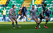 Sale Sharks centre Sam James passes to wing Byron McGuigan during a Gallagher Premiership Round 13 Rugby Union match, Saturday, Mar. 13, 2021, in Northampton, United Kingdom. (Steve Flynn/Image of Sport)