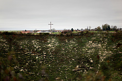 08 November 2020. Lochnagar Crater, The Somme, La Boisselle, France.<br /> Lochnagar Crater. La Grand Mine. Site of the largest explosion before the atomic bombs of WW2 and a disastrous lesson in futility. British troops exploded an enormous mine to further the Western advance on july 1st 1916, only to miss their target and face fierce opposition from German troops dug into fortified positions set back from the site of the explosion. British casualties in and around La Boisselle exceeded 6,000 on the first day of the battle of the Somme. In total there were over 1 million casualties during the battle with over 60,000 casualties on July 1st 1916.<br /> Photo©; Charlie Varley/varleypix.com