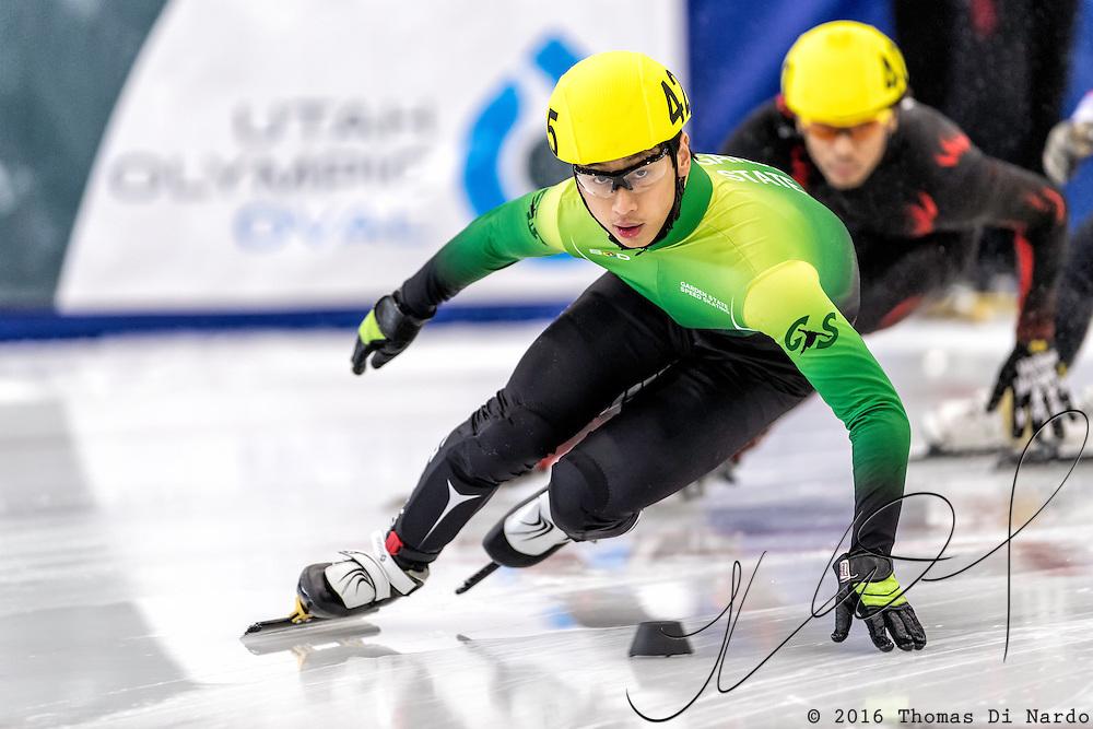 December 17, 2016 - Kearns, UT - Kevin Tang skates during US Speedskating Short Track Junior Nationals and Winter Challenge Short Track Speed Skating competition at the Utah Olympic Oval.