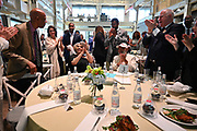6/25/21 Minneapolis Minnesota <br /> Civil rights icon and author James Meredith, center in white suit, celebrates his 88th birthday with his wife Dr Judy Meredith, second from left and  Governor Walz, second from right, at a private dinner in Minneapolis after the Chauvin sentencing. Also in attendance is Dr. Terrance Roberts of the Little Rock Nine, who was the keynote speaker.  Chauvin was sentenced to 22.5 years for the brutal murder of George Floyd. The sentence is the harshest sentence ever given a police officer in Minnesota. The local community has mixed emotions regarding the sentencing and feels that there is much work that still needs to be done. The entire room sang Happy Birthday to Mr. Meredith.  Photo © Suzi Altman