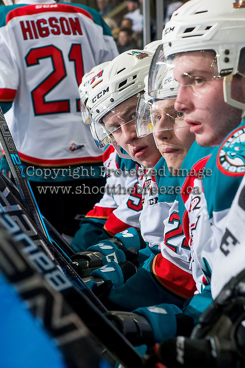 KELOWNA, CANADA - FEBRUARY 6: Kyle Topping #24 of the Kelowna Rockets sits on the bench against the Spokane Chiefs  on February 6, 2019 at Prospera Place in Kelowna, British Columbia, Canada.  (Photo by Marissa Baecker/Shoot the Breeze)