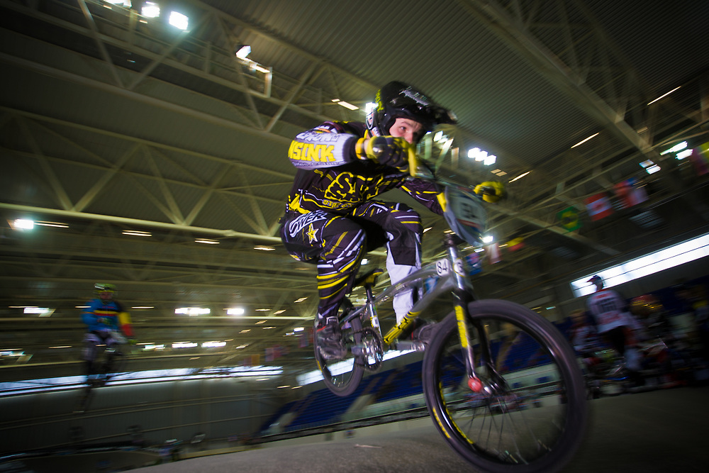 #84 (VEIDE Rihards) LAT at the UCI BMX Supercross World Cup in Manchester, UK
