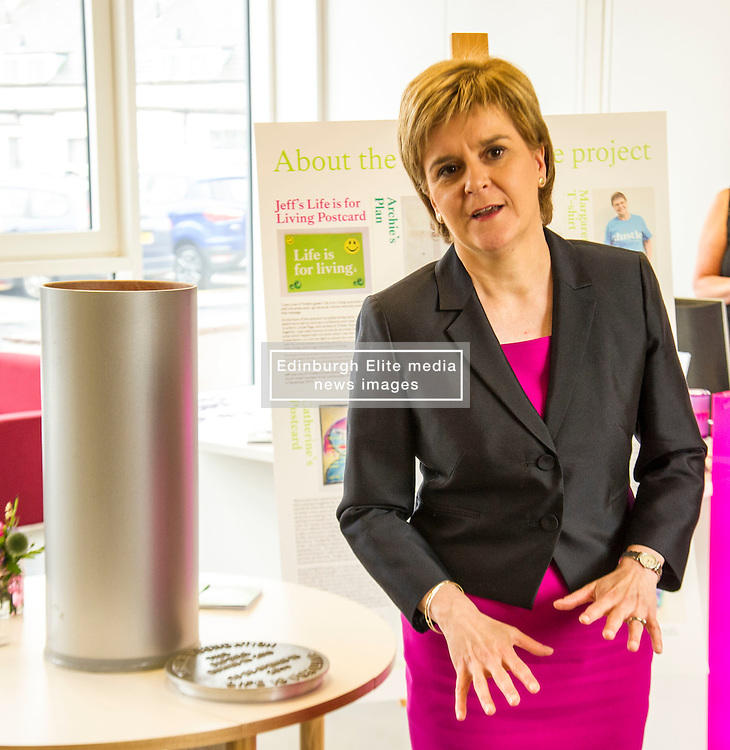 Pictured: Nicola Sturgeon<br /> <br /> The First Minister Nicola Sturgeon, MSP, joined people supported by the Thistle Foundation to bury a time capsule to mark the opening of a new health and social care centre. <br /> Ger Harley | EEm 14 June 2016