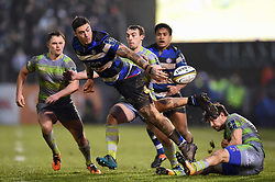 Matt Banahan of Bath Rugby offloads the ball in the air - Mandatory byline: Patrick Khachfe/JMP - 07966 386802 - 27/01/2018 - RUGBY UNION - The Recreation Ground - Bath, England - Bath Rugby v Newcastle Falcons - Anglo-Welsh Cup
