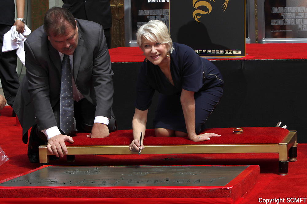 3/28/2011 Helen Mirren's hand/footprint ceremony at the Chinese Theater