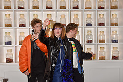 Alexander Flockhart, Mads Christian Dangaard Christiansen, and Matte Mortensen from the band Off Bloom at the Passavant and Lee New Collection Launch, St.Martin's Lane Hotel, London England. 19 February 2018.