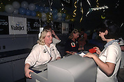 Passengers check in at the ValuJet counter as the company resumes flights September 26, 1996 after being grounded by the FAA following the deadly crash of a Valujet DC-9 that killed all 110 people aboard.