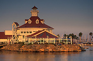 Parkers Lighthouse Restaurant on the waterfront at sunset, Long Beach Harbor, California
