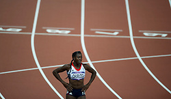 © Licensed to London News Pictures. 05/08/2012. London,UK.Great Britain's Christine Ohuruogu reacts after wining the silver medal in the Women's 400m, at the Olympic Stadium, in London, during the London 2012 Olympic Games. Photo credit : Bogdan Maran/LNP/BPA