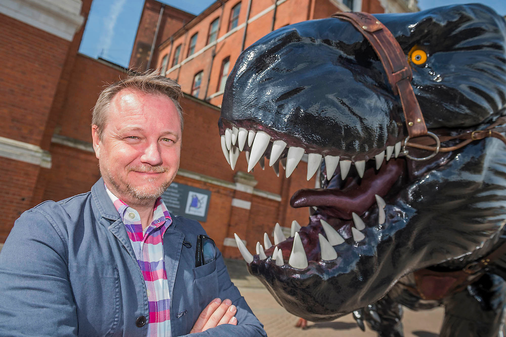 Supersaurs sculpture,  designed by Jay Jay Burridge (pictured) greets arrivals. The sculpture celebrates the new Supersaurs publishing programme of six middle grade books published by Bonnier Zaffre in 2017. The London Book Fair, celebrating its 45 year anniversary, is the global marketplace for rights negotiation and the sale and distribution of content across print, audio, TV, film and digital channels. Staged annually, LBF sees more than 25,000 publishing professionals arrive in London for the week of the show to learn, network and kick off their year of business. The London Book Fair sits at the heart of London Book & Screen Week, and runs from the 12-14 April 2016.