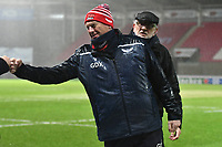 Rugby Union - 2020 / 2021 Heineken Cup - Pool 1 - Scarlets vs Toulon - Parc-y-Scarlets<br /> <br /> Scarlets head coach Glenn Delaney fist bumps before speaking to the media in torrential rain after the match was called off at the last minute, not on account of the weather conditions, but on account of covid 19 concerns from Toulon<br /> <br /> <br /> COLORSPORT/WINSTON BYNORTH