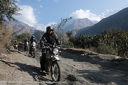 Kiwi Mike Tomas with the Annapurna Range in the background on Day-7 of our Himalayan Heroes adventure riding from Tatopani to Pokhara, Nepal. Monday, November 12, 2018. Photography ©2018 Michael Lichter.