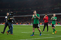 Lincoln City's Matt Rhead applauds the away fans at full time  <br /> <br /> <br /> Photographer Craig Mercer/CameraSport<br /> <br /> The Emirates FA Cup Sixth Round - Arsenal v Lincoln City - Saturday 11th March 2017 - The Emirates - London<br />  <br /> World Copyright © 2017 CameraSport. All rights reserved. 43 Linden Ave. Countesthorpe. Leicester. England. LE8 5PG - Tel: +44 (0) 116 277 4147 - admin@camerasport.com - www.camerasport.com
