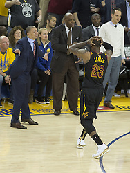 May 31, 2018 - Oakland, California, U.S - LeBron James #23 of the Cleveland Cavaliers reacts to a  foul during  their NBA Championship Game 1 with the  Golden State Warriors  at Oracle Arena in Oakland,  California on Thursday,  May 31, 2018. ARMANDO  ARORIZO/PI (Credit Image: © Prensa Internacional via ZUMA Wire)
