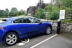 Recharging point for electric car, Grassington, Yorkshire Dales UK 2020