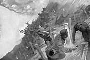 Russo-Japanese War 1904-1905: Japanese troops massacred as they attempted to cross Russian barbed wire entanglements at Takushan, August 1904
