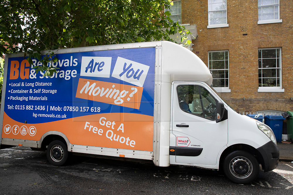© Licensed to London News Pictures. 16/06/2019. London, UK. A removals van bearing the slogan 'Are You Moving?' is parked outside Conservative Party leadership candidate Boris Johnson's south London house. The van was there to move contents into a house next door. All candidates in the leadership race, except Boris Johnson, will appear on a leadership debate TV programme on Channel 4 this evening. Photo credit: Peter Macdiarmid/LNP