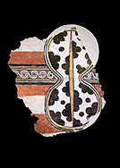 The 'figure of eight shield'  Mycenaean fresco wall painting, Mycenae Acropolis, Greece Cat No 11671. National Archaeological Museum, Athens. Black Background<br /> <br /> 12th-14th cent BC.<br /> <br /> The Mycenaean 'figure of eight shield' were originaly made of cows hide and was the symbol of a goddess of war. .<br /> <br /> If you prefer to buy from our ALAMY PHOTO LIBRARY  Collection visit : https://www.alamy.com/portfolio/paul-williams-funkystock/mycenaean-art-artefacts.html . Type -   Athens    - into the LOWER SEARCH WITHIN GALLERY box. Refine search by adding background colour, place, museum etc<br /> <br /> Visit our MYCENAEN ART PHOTO COLLECTIONS for more photos to download  as wall art prints https://funkystock.photoshelter.com/gallery-collection/Pictures-Images-of-Ancient-Mycenaean-Art-Artefacts-Archaeology-Sites/C0000xRC5WLQcbhQ