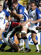 Leicester, England UK., 9th October 2004,  Zurich Premiership Rugby, Leicester Tigers vs Bath Rugby, Welford Road,<br /> [Mandatory Credit: Peter Spurrier/Intersport Images],<br /> Steve borthwicks run is held up by Neil back.