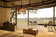 View from a guest room, Chinzombo Safari lodge, Luangwa Valley . Zambia, Africa