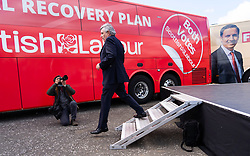 Glasgow, Scotland, UK. 5 May 2021. Scottish Labour Leader Anas Sarwar and former Prime Minister Gordon Brown appear at an eve of polls drive-in campaign rally in Glasgow today. Gordon Brown  leaves stage after his speech.  Iain Masterton/Alamy Live News