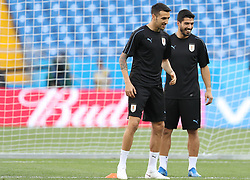 ROSTOV-ON-DON, June 19, 2018  Luis Suarez (R) of Uruguay attends a training session prior to a Group A match against Saudi Arabia at the 2018 FIFA World Cup in Rostov-on-Don, Russia, on June 19, 2018. (Credit Image: © Lu Jinbo/Xinhua via ZUMA Wire)