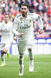 February 9, 2019 - Madrid, Spain - Sergio Ramos of Real Madrid celebrating a goal during La Liga match between Atletico de Madrid and Real Madrid at Wanda Metropolitano in Madrid Spain. February 09, 2018. (Credit Image: © Peter Sabok/NurPhoto via ZUMA Press)