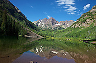 Maroon Lake at the foot of the Maroon Bells mountains