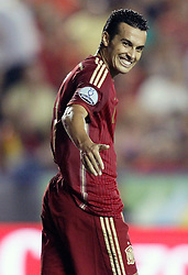 08.09.2014, Estadi Ciutat de Valencia, Valencia, ESP, UEFA Euro 2016 Qualifikation, Spanien vs Mazedonien, Gruppe C, im Bild Spain's Pedro Rodriguez // during the UEFA EURO 2016 Qualifier group D match between Spain and Macedonia at the Estadi Ciutat de Valencia in Valencia, Spain on 2014/09/08.<br /> <br /> *** NETHERLANDS ONLY ***