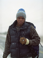man in winter clothes outdoors in a snowstorm