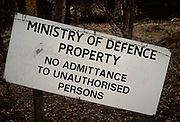 A87DJ1 Ministry of Defence sign