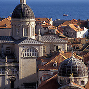 View of St. Blaise Cathedral and City of Dubrovnik in Croatia