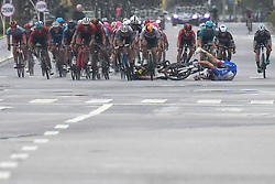 October 20, 2018 - Guilin, China - Luka Mezgec (Center) of Slovenia and Mitchelton - Scott Team and Arnaud Demare (Center Right) de France and Groupama - FDJ Team, carsh during the final sprint of the fifth stage, 212.2km from Liuzhou to Guilin, of the 2nd Cycling Tour de Guangxi 2018. .On Saturday, October 20, 2018, in, Guilin, China. (Credit Image: © Artur Widak/NurPhoto via ZUMA Press)