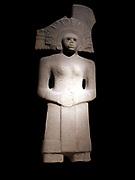 Huaxtec stone sculpture of a female deity Tlazoltl (fertility, health and birth), circa 900-1450 AD, Mexico