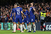 Olivier Giroud of Chelsea (18) celebrating after scoring goal to make it 1-0 during the Champions League group stage match between Chelsea and PAOK Salonica at Stamford Bridge, London, England on 29 November 2018.