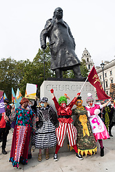 © Licensed to London News Pictures. 30/09/2020. London, UK. Pantomime dames, creative workers and people excluded from government support during the pandemic take part in a demonstration to highlight the lack of government support to the theatre and live events industry. Photo credit: London News Pictures