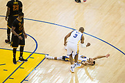 Golden State Warriors guard Stephen Curry (30) celebrates with Golden State Warriors forward David West (3) after being fouled during a shot attempt by the Cleveland Cavaliers during Game 5 of the NBA Finals at Oracle Arena in Oakland, Calif., on June 12, 2017. (Stan Olszewski/Special to S.F. Examiner)