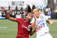 04 December 2011: Stanford's Lindsay Taylor (17) and Duke's Kim DeCesare (19). The Stanford University Cardinal defeated the Duke University Blue Devils 1-0 at KSU Soccer Stadium in Kennesaw, Georgia in the NCAA Division I Women's Soccer College Cup Final.