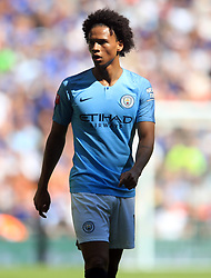 """Manchester City's Leroy Sane during the Community Shield match at Wembley Stadium, London. PRESS ASSOCIATION Photo. Picture date: Sunday August 5, 2018. See PA story SOCCER Community Shield. Photo credit should read: Adam Davy/PA Wire. RESTRICTIONS: EDITORIAL USE ONLY No use with unauthorised audio, video, data, fixture lists, club/league logos or """"live"""" services. Online in-match use limited to 75 images, no video emulation. No use in betting, games or single club/league/player publications."""