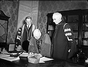 ardinal Spellman receives Honorary Degree from National University of Ireland at Iveagh House, Dublin<br />