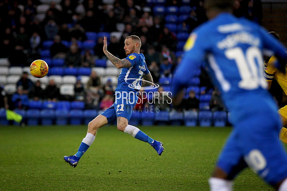 Peterborough United midfielder Marcus Maddison (21) controls the ball acrobatically during the EFL Sky Bet League 1 match between Peterborough United and Oxford United at London Road, Peterborough, England on 8 December 2018.