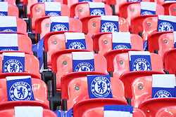Chelsea flags on seast before Arsenal's and Chelsea's FA Cup Final match at Wembley Stadium